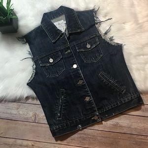 Vintage CK Distressed and Frayed Jean Vest S